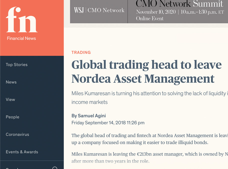GLOBAL TRADING HEAD TO LEAVE NORDEA ASSET MANAGEMENT